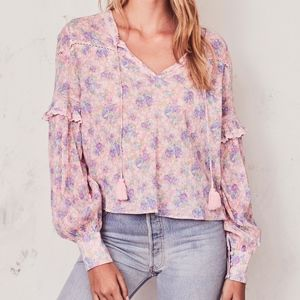 LOVESHACKFANCY Prairie Peasant Blouse Floral Top